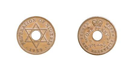 numismatic: Old coin of the Federation of Nigeria dated 1959