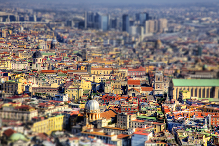 tilt views: Naples aerial view with Tilt shift effect