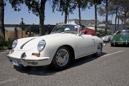 gran prix: Naples, Italy, July 02, 2016: Vintage Porsche during the annual historical re-enactment of the Grand Prix of Naples