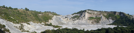 dormant: Panoramic view of the Solfatara volcan in Pozzuoli, Naples, Italy