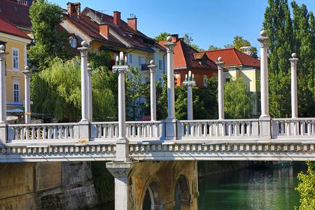 Cobbler Bridge in Ljubljana - HDR image Stock Photo