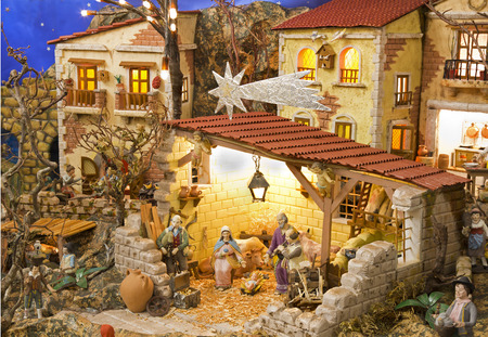 Typical Neapolitan nativity scene with hand made figurines Stock Photo
