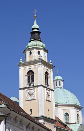 Ljubljana St. Nicholas cathedral steeple Stock Photo