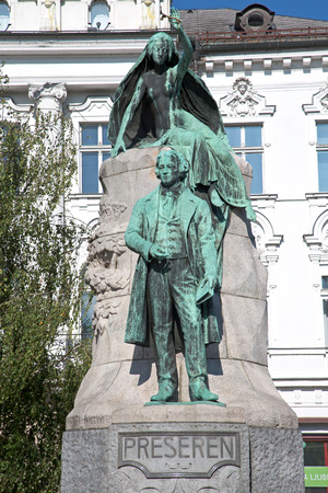 national poet: Ljubljana, Slovenia, Aug 25, 2016: The Preseren Monument in Ljubljana  is a late Historicist bronze statue of the Slovene national poet France Preseren Editorial