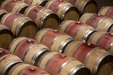 Wooden barrels in a cellar