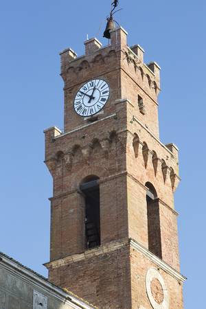 03, January, 2019 Pienza ,Tuscany, Italy. The brick bell tower of the Palazzo comunale