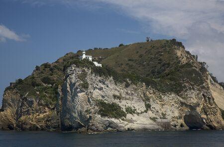 Miseno Cape in the Pozzuoli gulf. View from the sea