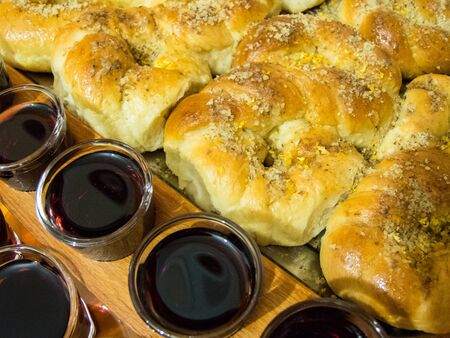 eights: Wine and moldavian baking eights with honey and walnuts Stock Photo