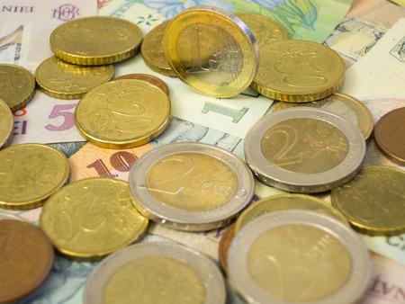 leu: Euro currency above leu Stock Photo