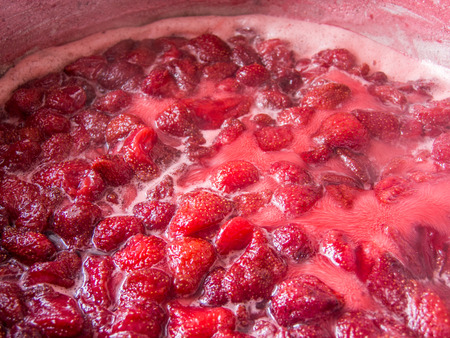 boiling: boiling strawberries for jam