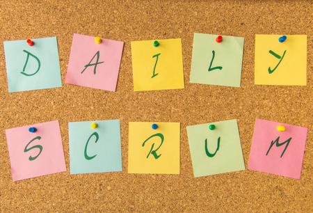 scrum: cork board daily scrum