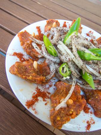 lebanese food: traditional lebanese food kibbeh nayyeh on a plate Stock Photo