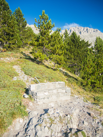 olympus: a view to olympus peaks from a belvedere point Stock Photo