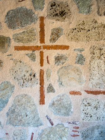 kalampaka: cross sign on grand meteor church in meteora greece