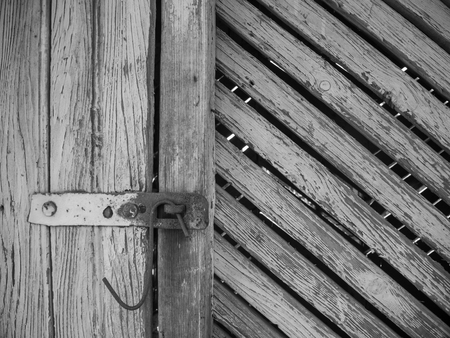 barn black and white: old barn rusted latch black and white