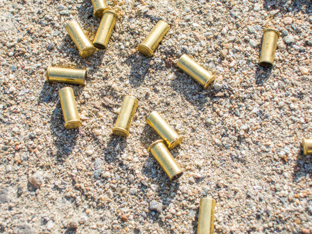 sports shell: biathlon rifle scattered fired cartridges shining in the sun