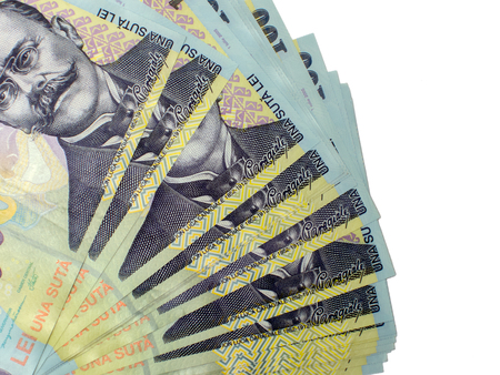 leu: many banknotes of one hundred romanian currency leu ron concept
