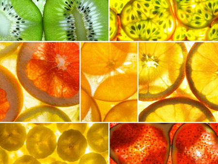 Assorted Collage Of Back Lit Fruit Slices Stock Photo, Picture And ...