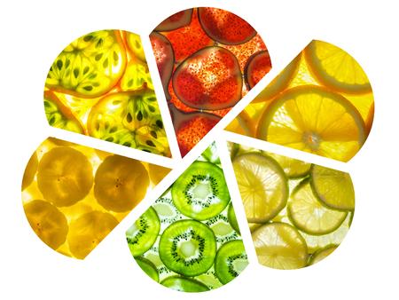 assorted collage of back lit fruit slices arranged as petals