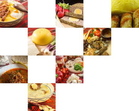 collage of traditional romanian food dished with copy space Stock Photo