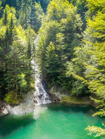 transfagarasan: waterfall near vidraru dam arges transfagarasan romania