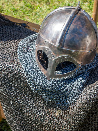'dark ages': medieval knight chain mail suit and helmet