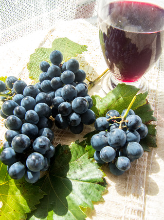 glass with stum and grapes