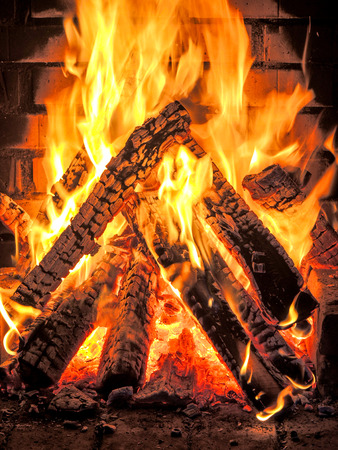 fierce fire in the fire place Stock Photo