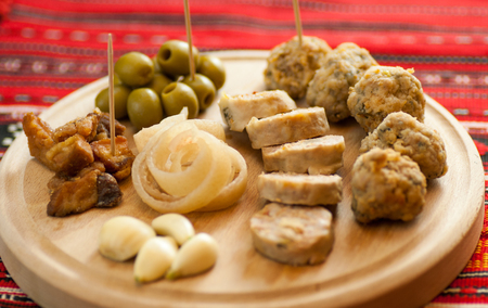 consist: romanian christmas appetizer consist of various pork dishes Stock Photo