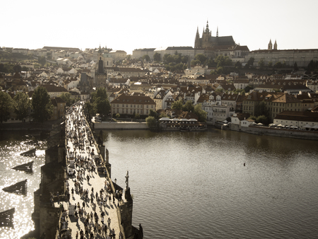 charles bridge in prague in sunset light view from old town bridge tower old photo style