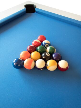 pool game ready to start with balls arranged Stock Photo
