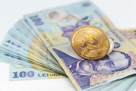 Ethereum And Stack Of Romanian Currency Ron Leu Over White