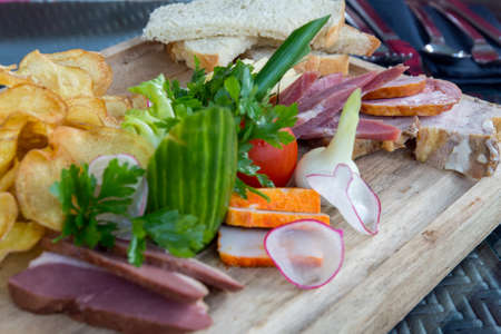 assorted appetizers on plate close up photo Reklamní fotografie