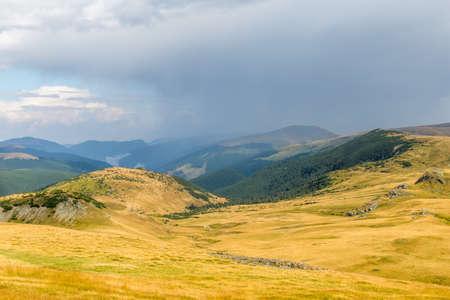 rainy weather over transalpina high mountain road, romania