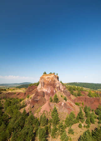 view of extinct racos volcano in brasov county romania