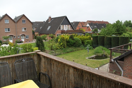 view from the balkony to the garden