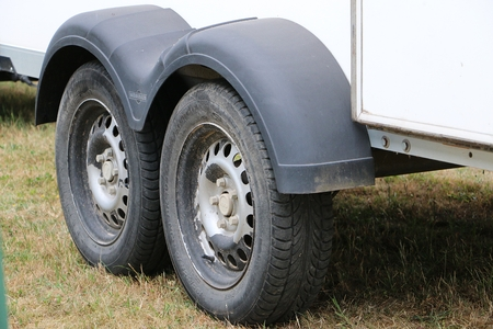 two tires at a trailer