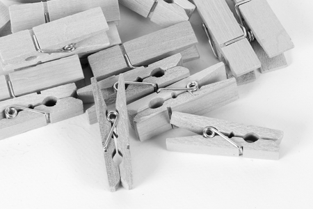 Black and white close up of clothess pins 写真素材