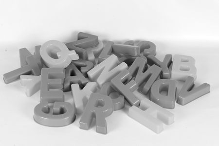 Black and white of a heap from large letters
