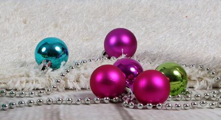 Colorful christmas decoration is lying on the floor