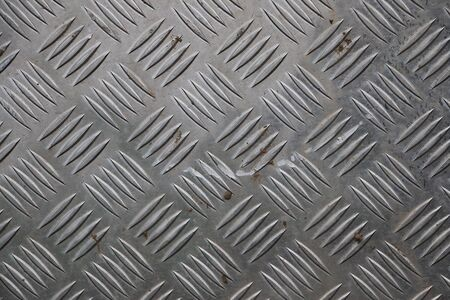 Ribbed silver metal background close up