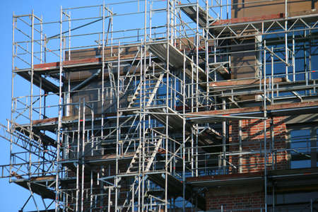 Close-up of a scaffolding on a corner of an apartment building