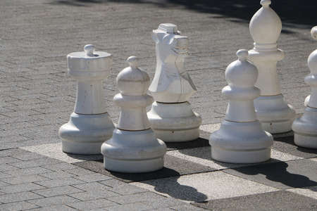 black and white chess stones standing on the chess field in the park