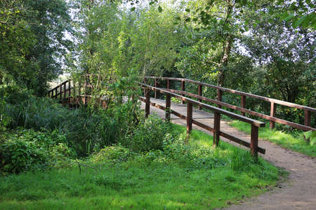 beautiful small wooden bridge in a romantic green nature Stock Photo