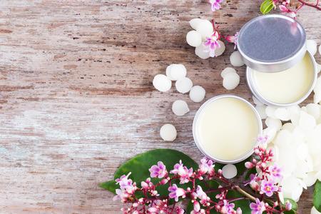 maison naturelle baume pour les lèvres dans des pots d'étain, des projets de bricolage Banque d'images
