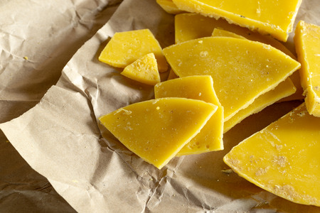 yellow natural beeswax for natural beauty and D.I.Y. preoject. Stock Photo