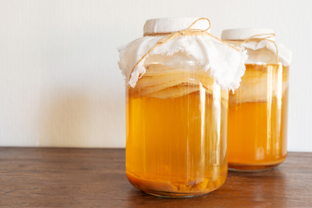 homemade fermented drink Jun Tea SCOBY Stock Photo