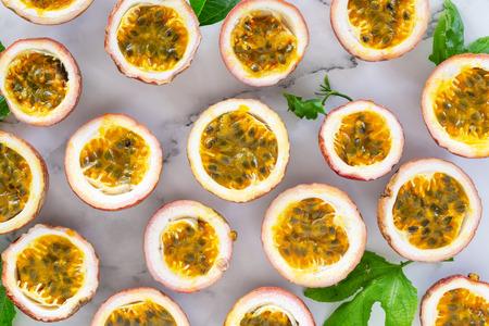 sliced passion fruit food and drink background. Stok Fotoğraf
