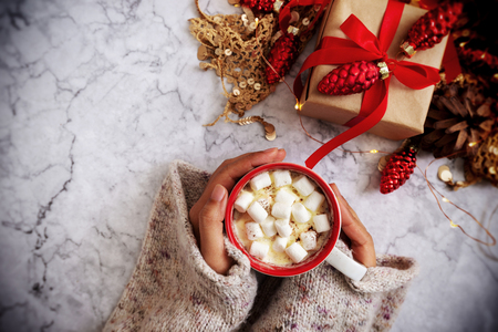 female hand holding cup of hot cocoa or chocolate with marshmallow from above