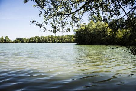 summit lake: Beautiful lake with water peaceful island in France. Stay on a beautiful lake in ile de France